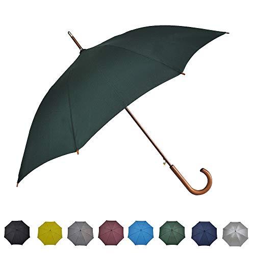 SoulRain 木製ハンドル付傘120 cm長傘Jハンドルクラシック紳士傘大きいステッキ傘 特大 丈夫強風豪雨対策自動開ステッキ傘男性と女性用晴雨兼用傘 (緑)
