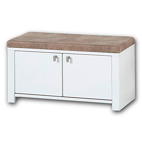 Stella Trading SERPIO Schuhbank mit Sitzfläche Weiß matt, Wildbuche massiv - bequeme Sitzbank mit Stauraum für Ihren Flur - 92 x 49 x 41 cm (B/H/T)