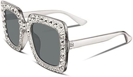 FEISEDY Women Sparkling Crystal Sunglasses Oversized Square Thick Frame B2283 product image