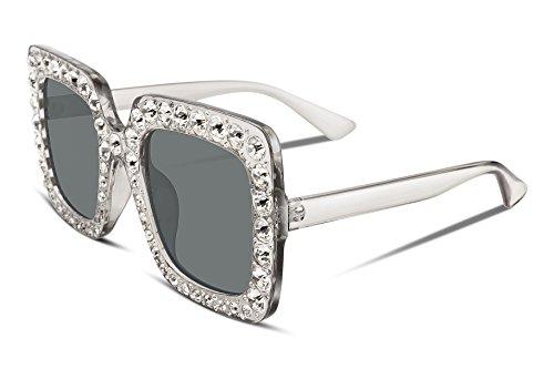 FEISEDY Gafas de sol de cristal brillante para mujer Marco grueso cuadrado...
