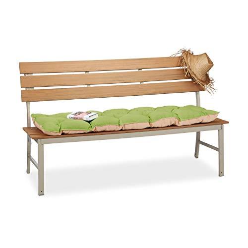 Relaxdays Matelas coussin de banc de jardin banquette canapé terrasse 3 places HxlxP: 8 x 141 x 50,5 cm, vert/beige