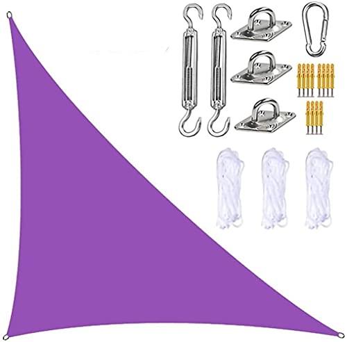 Toldo para velas de jardín parasol triangular con kit de fijación 3 cuerdas resistente al agua bloque UV toldos para sombrillas de jardín en ángulo recto para patios exteriores (morado