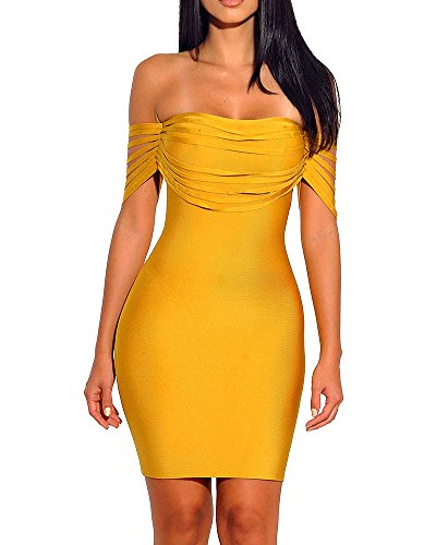 Whoinshop Damen Ärmellos Schulterfrei kleid Quaste Bodycon Cocktailkleid Partykleid Abendkleid Mini...