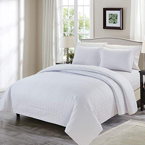 Chezmoi Collection Auburn 3-Piece Modern Quilted Bedspread Set (Queen, White)