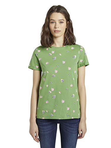 TOM TAILOR Damen T-Shirts/Tops T-Shirt mit Print Green Parasol Design,L