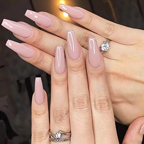 Yean Coffin False Nail Nude Glossy Long Fake Nails Pure Color Ballerina Acrylic Press on Nails Full Cover Stick on Nails for Women and Girls(24 pcs)