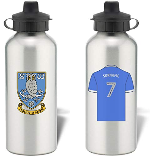 Personalised Sheffield Wednesday FC Shirt Aluminium Sports Water Bottle - Silver Bottle