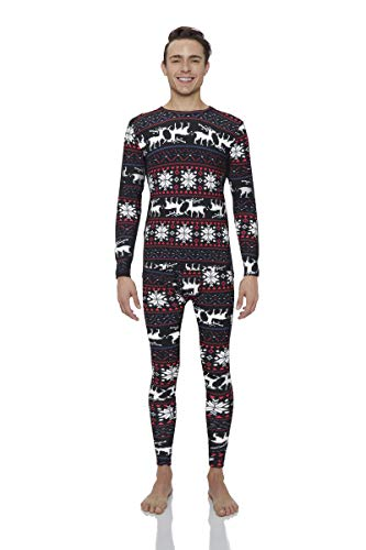 Rocky Christmas Thermal Underwear for Men Midweight Fleece Lined Thermals Men's Base Layer Long John Set (Christmas Design - Midweight (Fleece) - X-Large)