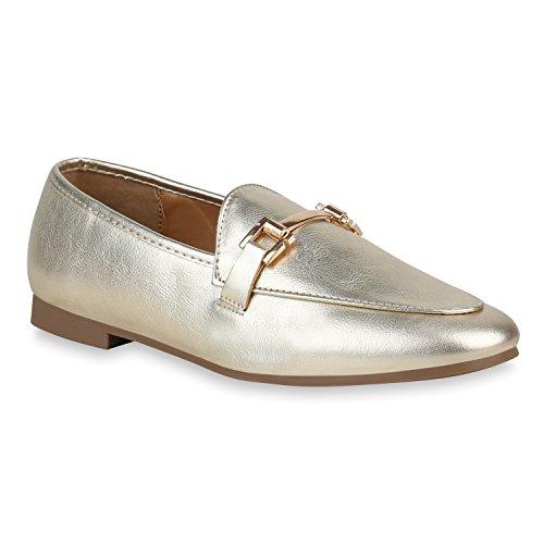 stiefelparadies Damen Slippers Metallic Loafers Ketten Slip Ons Freizeit Schuhe 157307 Gold 39 Flandell