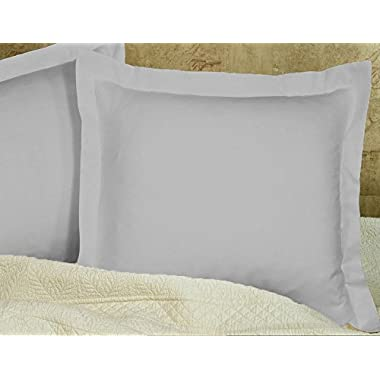 AKC Collection Pillow Shams Euro 26X26 Size Set of 2 Pc European Pillow Shams/Cushion Cover/Decorative Pillow Shams 500 Thread Count With 100% Egyptian Cotton Silver Gray Solid Euro 26X26