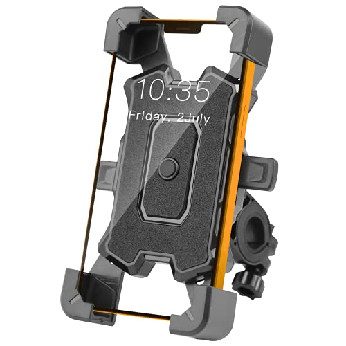 Anti-Shake Bike Phone Mount Universal Easy Install and Quick Release Motocycle Handlebar Phone Holder Scooter Phone Clamp Fits iPhone Android GPS Other 4.5-7inches Devices