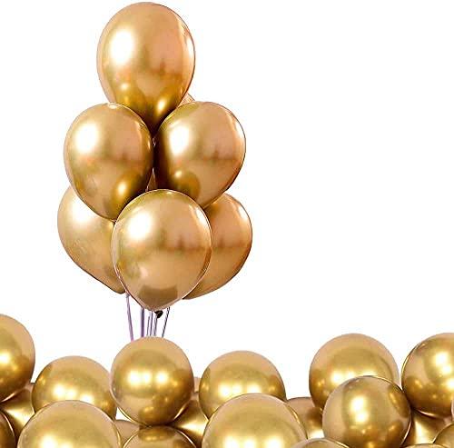 Globos 100 unids 12 Pulgadas Globos metálicos Brillantes Globos de Metal Fiesta de látex para el cumpleaños Boda Boda Baby Shower Decoraciones navideñas (Dorado)