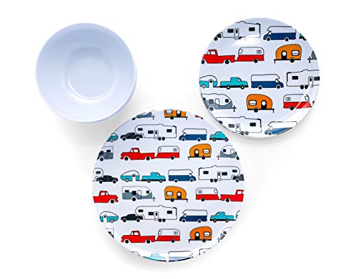 Product Image 3: Camco Life is Better at The Campsite 12 Piece Dishware Set-Multicolor Retro RV and Trailer Print, Includes Plates and Bowls, Perfect for RVing and Camping, Melamine (53297)
