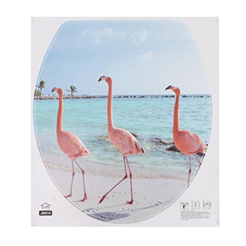 HomeDecTime WC-Aufkleber WC-Sitz Toilette Klodeckel Toilettendeckel Aufkleber Badezimmer Dekoration - Flamingo
