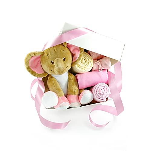 dubistda-WINDELTORTEN-® Baby Geschenkbox zur Geburt LITTLE PEANUT rosa   Geschenkkorb 6-teilig