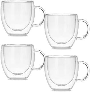ASSR Lot de 4 tasses à café en verre borosilicate transparent isolé double paroi pour la maison, la cuisine, le bureau