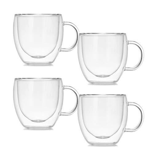 ASSR Juego de 4 tazas de café transparentes, vasos de borosilicato, taza de cristal de doble pared aislada para el hogar, cocina, oficina
