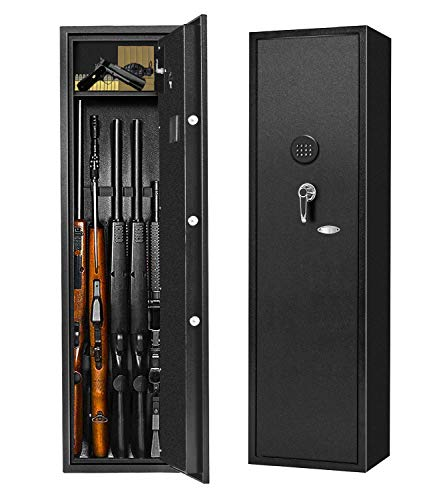 Rifle Safe Large Gun Safe Metal Long Gun for rifles and pistols, Quick Access 5-Gun Storage Cabinet for Rifle with Handgun Separate Lockbox (Keyboard PIN Code)