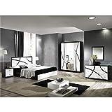 AltoBuy Alyssa - Chambre Complète 160x200cm Blanche et Noire