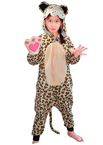 Pijama con capucha para niños, diseño de leopardo, 3D, con efecto animal, forro polar, guantes y pijama para dormir extra grueso, suavidad, juego divertido