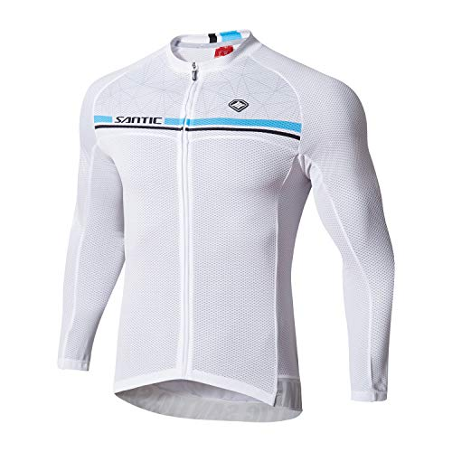 Santic Cycling Jersey Men's Long Sleeve Bike Reflective Full Zip Bicycle Shirts with Pockets White US XL Karen
