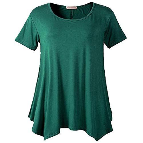N\P Camiseta de manga corta para mujer de talla grande con cuello redondo suelto y color sólido