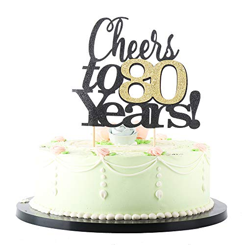 Cheers to 80 Years Cake Topper