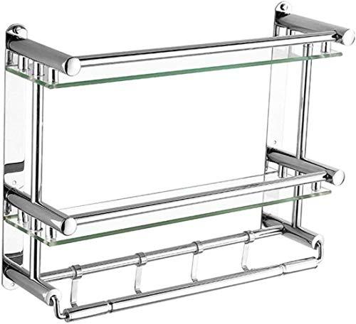 Toalleros de barra Estante de secado Muebles de baño Estante de cristal Estante de vidrio Doble baño Estante montado en la pared Estante de acero inoxidable Toalla Rack Anillo de mano (Color: Plata, T