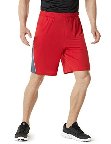 TM-MBS03-RED_X-Large Telsa Men's Athletic Training Shorts Active HyperDri III w Pockets MBS03