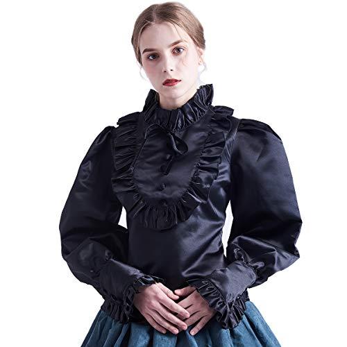 BLESSUME Mittelalter Victorian Bluse Lolita Langarm Vintage Barock Top (XXL, Schwarz)