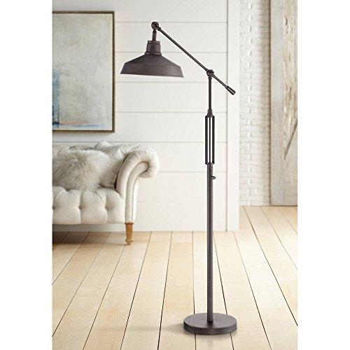 Turnbuckle Industrial Downbridge Floor Lamp LED Oil Rubbed Bronze Adjustable Metal Shade for Living Room Reading Bedroom - Franklin Iron Works
