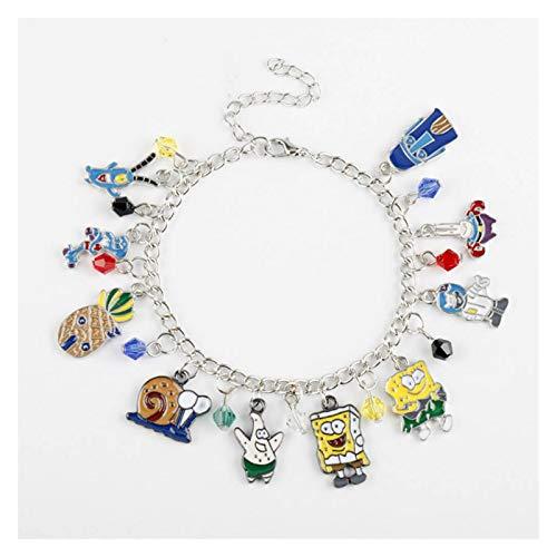 MGMDIAN Women's Cartoon SpongeBob SquarePants Bracelet, Pie Big Star Octopus Brother Crab Boss Combination Alloy Bracelet Jewelry (25cm)