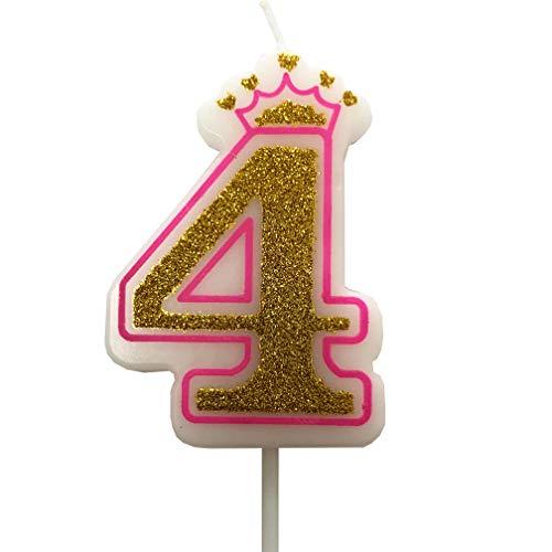 PartyMart Number 4 Giltter Candle, Pink Number 4