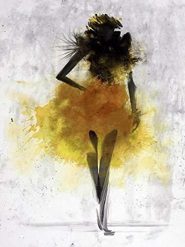 Aquarel meisje abstracte terpaarse Wall Art Canvas uitgerektvoor woonkamer Home Decorfoto50x60cm Un