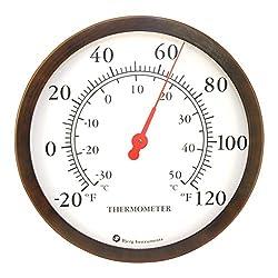 Bjerg Instruments 12 Steel Enclosure Decorative Indoor/Outdoor Patio Wall Thermometer (Bronze)