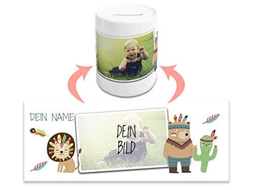 GRAZDesign Spardose Kinder mit Namen und eigenem Foto, Geschenk personalisiert zur Geburt, Taufe, Weihnachten, Geburtstag, Motiv Indianer Bär