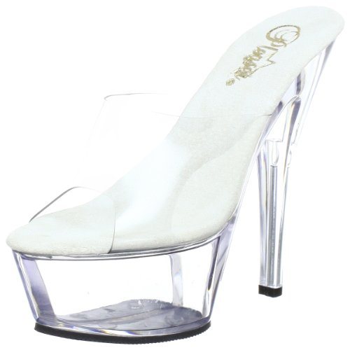 Pleaser KISS-201 Damen Sandalen, Transparent (Clr/clr), EU 43 (UK 10) (US 13)