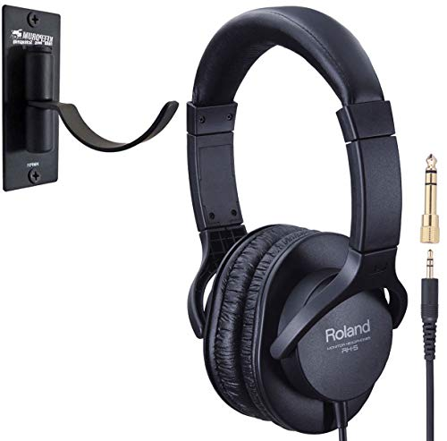 Roland RH-5 gesloten stereo koptelefoon + keepdrum HMP01 wandhouder