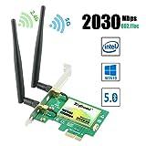 Ziyituod Wifi 無線LANカード AC2030Mbps PCI Express(PCIe) Intel AC-9260モジュール Bluetooth5.0対応 デュアルバンド(5GHz1730Mbps+2.4GHz300Mbps) 2*6dBiアンテナ デスクトップ PC用 日本語説明書付き Windows10対応(WIE9260)
