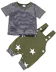 Binxory Baby Peuter Jongen Kleding Set Gestreepte T-Shirt Sterren Overalls Shorts