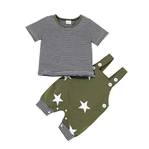 Haokaini Conjunto de Ropa de Verano para Bebé Niño Camiseta a Rayas Estrellas Monos Pantalones Cortos Conjunto de Ropa