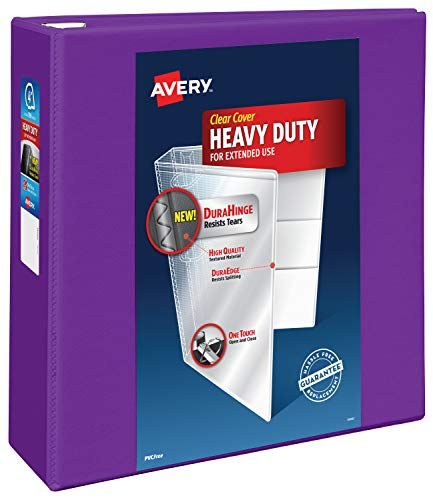 Avery Heavy Duty View 3 Ring Binder, 4' One Touch EZD Ring, Holds 8.5' x 11' Paper, 1 Purple Binder (79813)