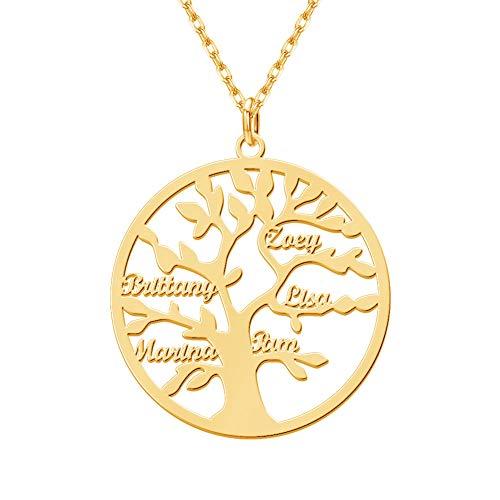 MissChic Namenskette, lebensbaum Kette, Personalisierte Kette, Halskette mit Name, Stammbaum Kette für Oma, Herren, Freundin, Mutter, Schwester