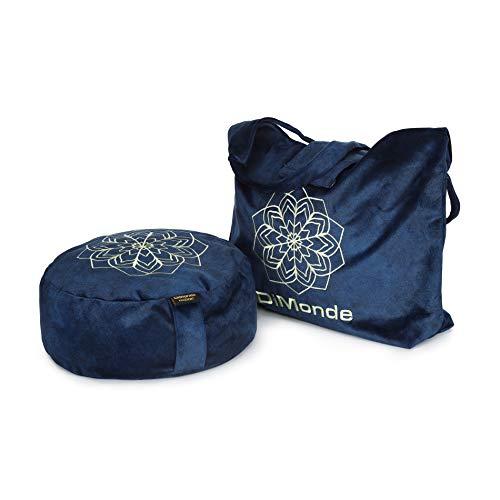 DiMonde Zafu - Cojín de meditación y Yoga Redondo con Bolsa Gamuza – Funda extraíble y Lavable – Relleno de cáscaras de Trigo sarraceno– Asa Lateral – Mandala – Altura 13 cm – Diámetro 33 cm Azul