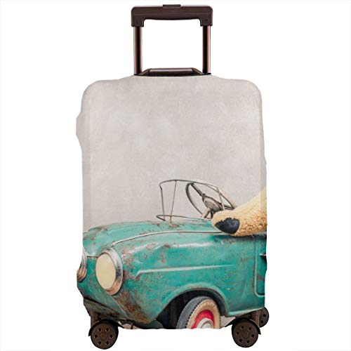 Travel Suitcase Protector,Teddy Bear Standing Near Rusty Outdated Retro Turquoise Toy Pedal Car In Front Concrete Textured Wall Vintage Style Filtered Photo,Suitcase Cover Washable Luggage Cover S