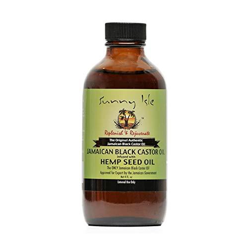 Sunny Isle Jamaican Black Castor Oil - Aceite de ricino negro jamaicano infundido con aceite de semilla de cáñamo, 118,30ml