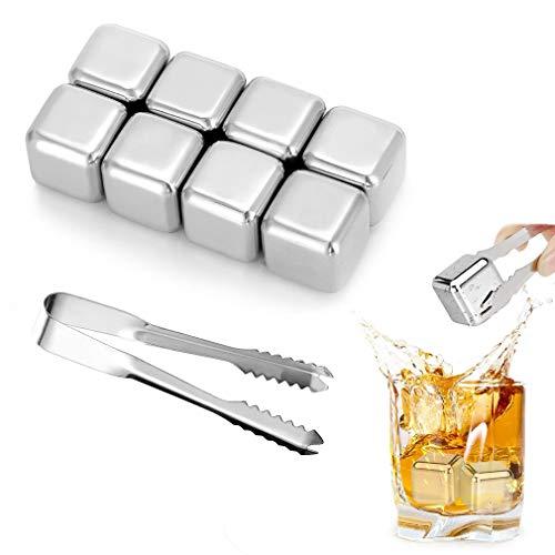 Whisky Eiswürfel Steine, 8 Eiswürfel Wiederverwendbare Whisky Edelstahl Eiswürfel Chilling Stones mit Zangen für Wein Geschwindigkeit Eingefroren Eiswürfel,Bar Accessoires Für Bier Wodka Gin Cocktail