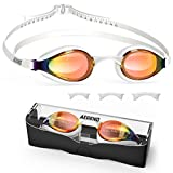Aegend Swim Goggles, Swimming Goggles with 4 Sizes Nose Bridges UV Protection Varied Color Lens No Leaking Anti Fog Crystal Triathlon Training for Adults Men Women Youth Kids, Fuchsia White