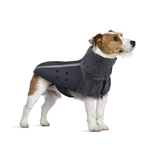 SlowTon Hundejacke Winterjacken Hundemantel Baumwolle Hundegeschirr (S, Grau)