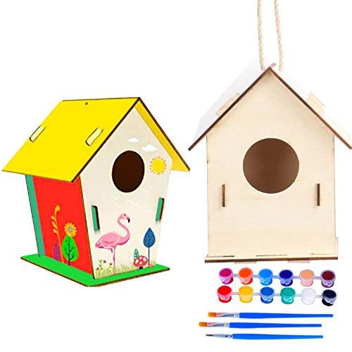 Vogelhaus zum Bemalen, DIY Holz Vogelhaus Bausatz, , 2 Stücke Holzvogelhaus Basteln für Kinder Vogelhaus Bemalen Kit Bauen Vogelhäuser Hängend Vogel Haus Set für Kinder Geburtstag